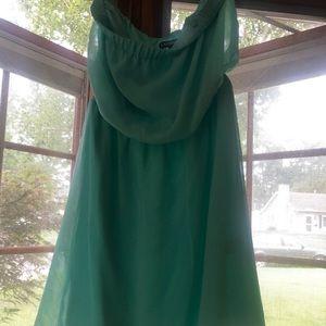 Express strapless XS mint green dress
